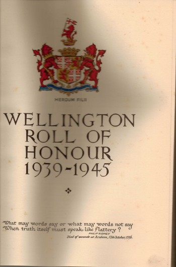 Image for Wellington Roll of Honour 1939-1945