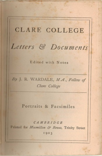Image for Clare College Letters and Documents