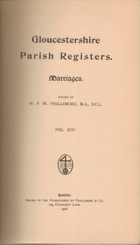 Image for Gloucestershire Parish Registers. Marriages. Vol. XIII
