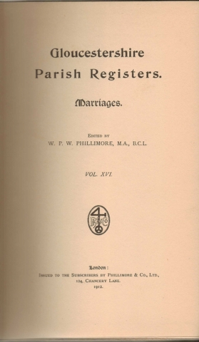 Image for Gloucestershire Parish Registers. Marriages. Vol. XVI