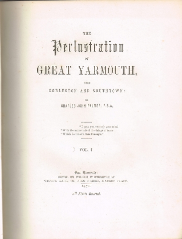 Image for The Perlustration of Great Yarmouth with Gorleston and Southtown in 3 volumes