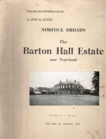 Image for Norfolk Broads : The Barton Hall Estate near Neatishead Auction Brochure 1935