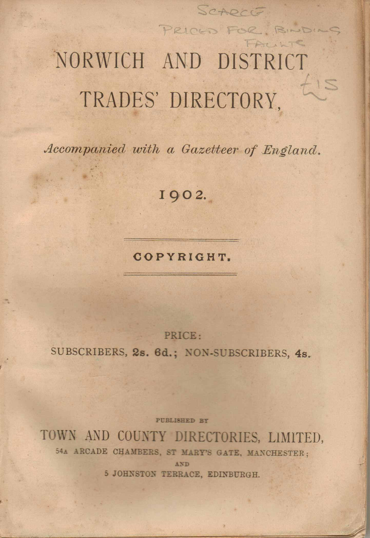 Image for Norwich and District Trades Directory 1902 accompanied with a Gazetteer of England