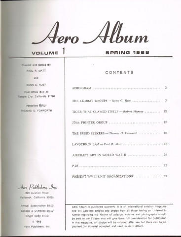 Image for Aero Album Volume 1 Spring 1968 to Volume 8 Winter 1969