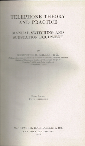Image for Telephone Theory and Practice: Manual Switching and Substation Equipment