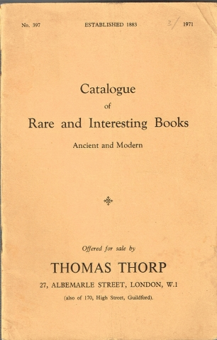 Image for Catalogue of Rare and Interesting Books Ancient and Modern No. 397 1971