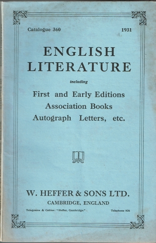 Image for Catalogue 360: English Literature including First and Early Editions Associaton Books Autograph Letters, etc.