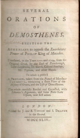 Image for Several Orations of Demosthenes, exciting the Athenians to oppose the Exorbitant Power of Philip King of Macedon.