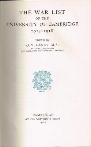 Image for The War List of the University of Cambridge 1914-1918
