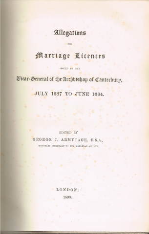 Image for Allegations for Marriage Licences issued by the Vicar-General of the Archbishop of Canterbury, July 1687 to June 1694.