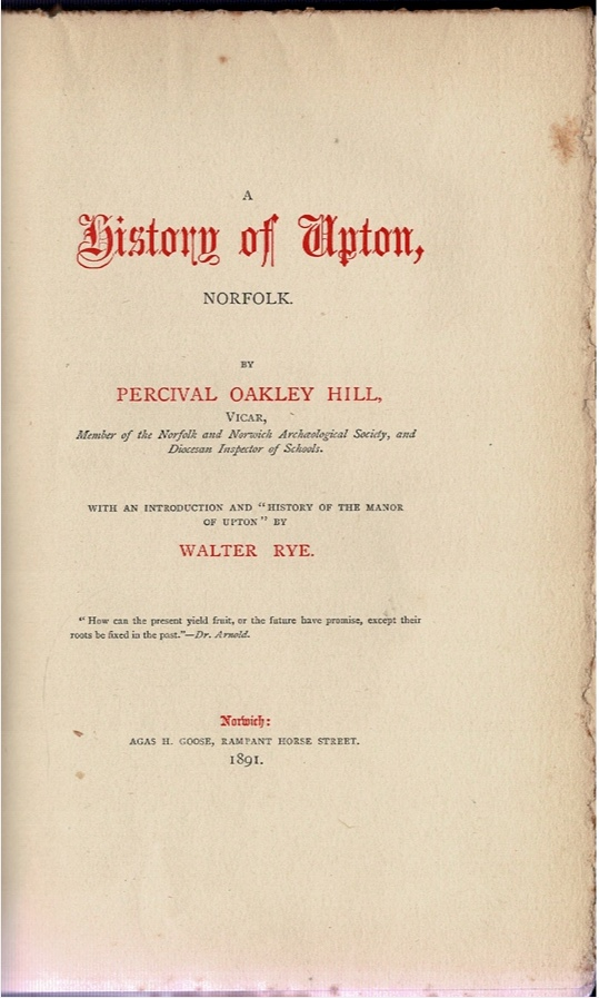 Image for A History of Upton, Norfolk.