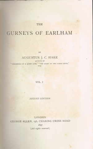 Image for The Gurneys of Earlham  Vol. I and Vol. II [Two Volumes]