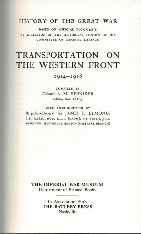Image for Transportation on the Western Front 1914-1918