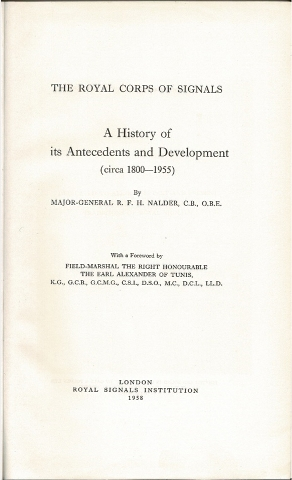 Image for The Royal Corps of Signals: A History of its Antecedents and Development (circa 1800-1955)