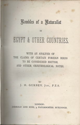 Image for Rambles of a Naturalist in Egypt & Other Countries, with an analysis of the claims of certain foreign birds to be considered British, and other ornithological notes.