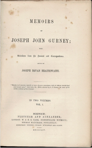 Image for Memoirs of Joseph John Gurney; with Selections from his Journal and Correspondence.  Vol. I. [and] Vol. II.
