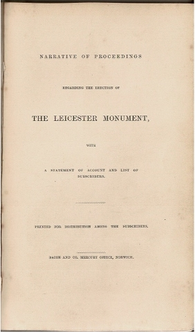 Image for Narrative of Proceedings Regarding the Erection of the Leicester Monument, with a Statement of Account and List of Subscribers.