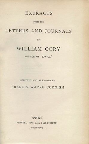 Image for Extracts from the Letters and Journals of William Cory author of 'Ionica'