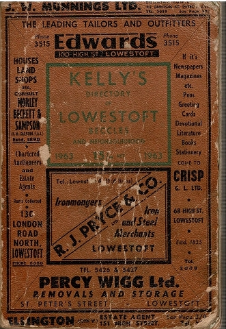 Image for Kelly's Directory of Lowestoft Beccles and Neighbourhood 1963