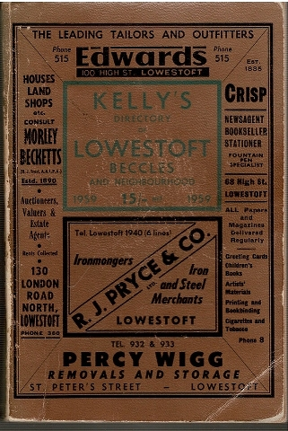 Image for Kelly's Directory of Lowestoft Beccles and Neighbourhood 1959