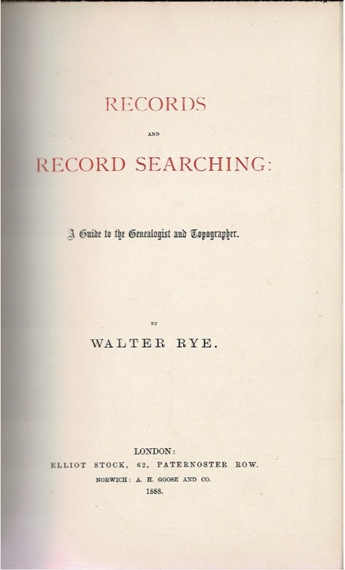 Image for Records and Record Searching: A Guide to the Genealogist and Topographer.