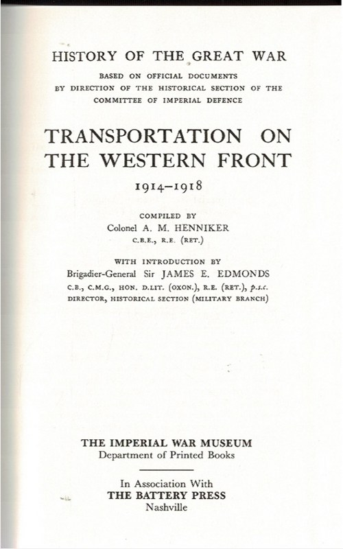 Image for Transportation on the Western Front 1914-1918 [plus] Maps [1 Volume plus 1 Map Box]