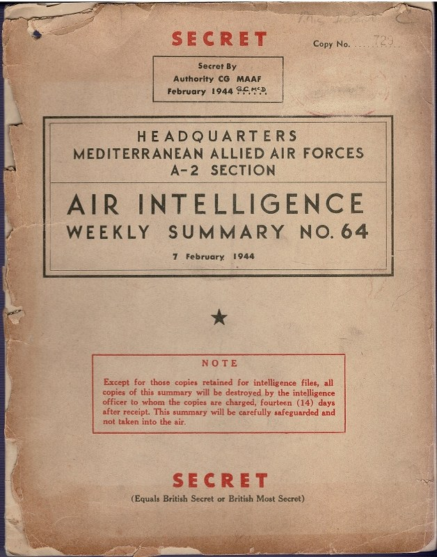 Image for Air Intelligence Weekly Summary No. 64 7 February 1944