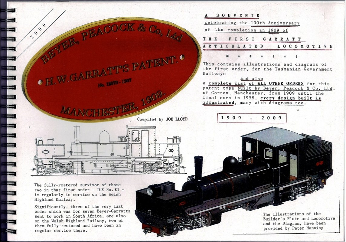 Image for A Souvenir celebrating the 100th Anniversary of the completion in 1909 of the First Garratt Articulated Locomotive [...]