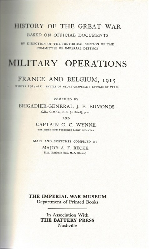 Image for Military Operations France and Belgium, 1915 Volume I, II, Maps Volume II [3 Volumes]