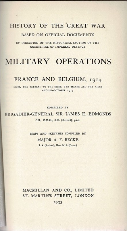 Image for Military Operations France and Belgium, 1914 Volume I, II, Maps Volume I, II [4 Volumes]