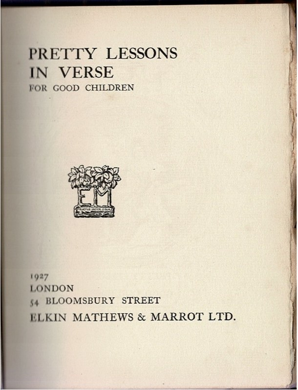 Image for Pretty Lessons in Verse for Good Children