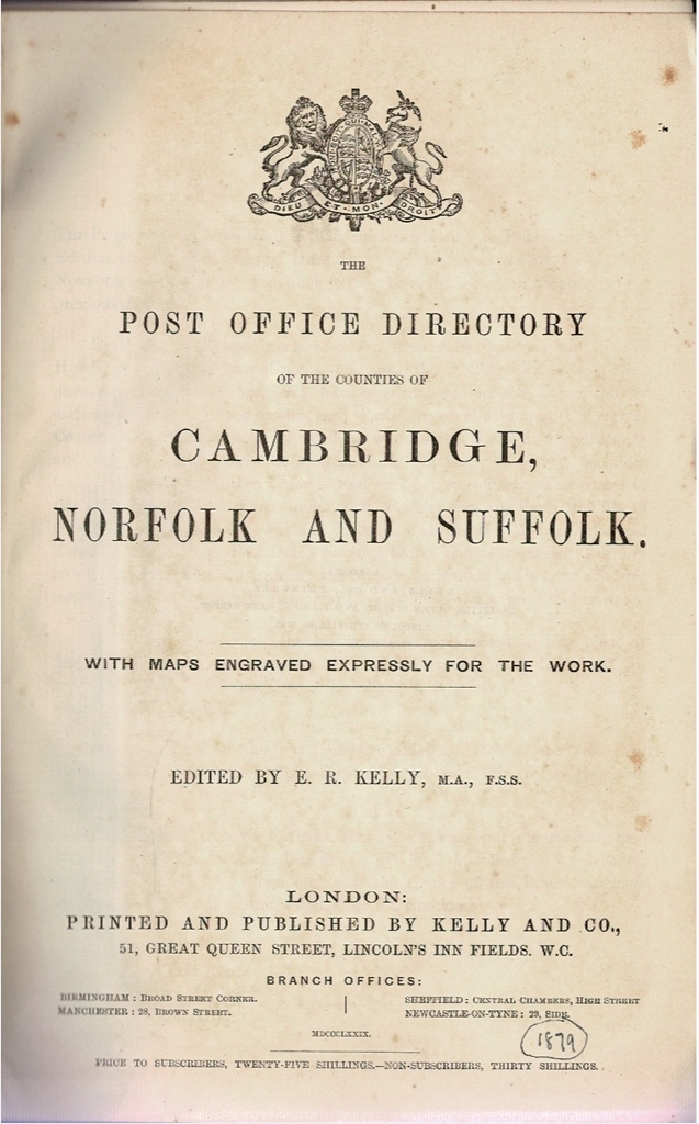 Image for The Post Office Directory of the Counties of Cambridge, Norfolk and Suffolk. [1879]
