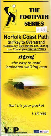 Image for Norfolk Coast Path: Stiffkey to Overstrand via Blakeney, Cley next the Sea, Sheringham, Cromer plus Circular Walks zigzag the easy to read laminated walking map