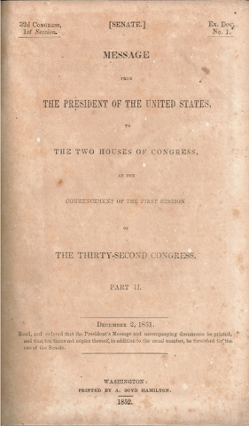 Image for Message of the President of the United States to the two Houses of Congress at the commencement of the thirty-second Congress. Part II. [Report of The Secretary of the Navy]
